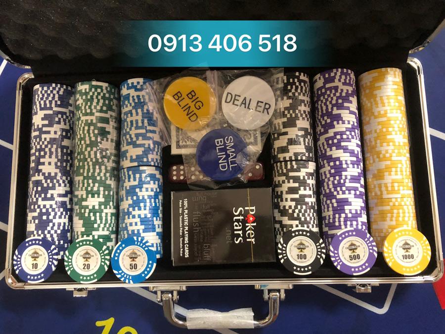 Bộ phỉnh poker casino 300 chip hàng cao cấp nhập khẩu